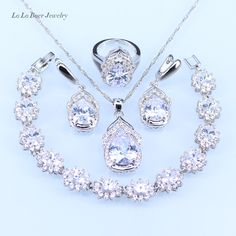 Cheap jewelry sets for women, Buy Quality silver 925 jewelry set directly from China jewelry sets Suppliers: L&B Australia Crystal Water Drop silver 925 Jewelry Sets For Women Bracelet/Earrings/Necklace/Pendant/Rings Pendant Earrings, Crystal Earrings, Crystal Jewelry, Necklace Set, Silver Jewelry, Ring Earrings, Jewelry Accessories, Women Jewelry, Unique Jewelry