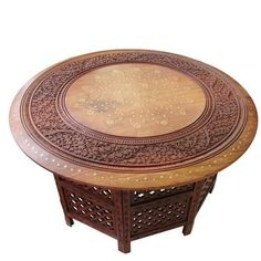 Large Round Coffee Table Brown Solid Wooden Hand Carved Indian Side Lamp  Vintage