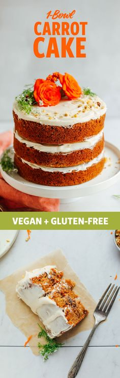 Delicious, easy to make, 1 bowl Vegan Gluten-Free Carrot Cake // minimalist baker Gluten Free Carrot Cake, Gluten Free Desserts, Vegan Gluten Free, Paleo, Baker Recipes, Vegan Recipes, Dessert Recipes, Free Recipes, Weight Watcher Desserts