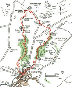Ingleton waterfalls trail - 9 to see on this 4 mile route Yorkshire Dales, East Yorkshire, Walking Map, Walking Routes, Waterfall Trail, Kingston Upon Hull, Travel Maps, Travel Uk, North Country