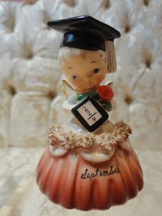 Vintage Napco 'September' Schoolgirl Angel w/Book BELL of the Month figurine