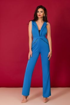 Salopete elegante de dama Royal Blue, Jumpsuit, Dresses, Fashion, Elegant, Lady, Overalls, Moda, Monkey