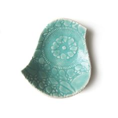 Pottery bird bowl in seafoam turquoise stoneware ceramic with vintage lace crochet texture Soap dish Ring dish Home decor