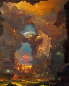 Paul Lehr (1930-1998) is one of the greatest future-fantasist painters of the post-pulp era. He was very prolific and produced a large body of work of remarkable intensity and consistent high quality. In the late-80s and 90s, after paperback publishers had lost interest in putting beautifully weird covers on their books, Lehr turned his attention to painting epic and highly detailed dream landscapes.