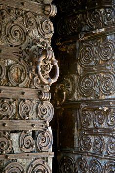 Exquisite door.  Chapelle de la Trinité, Prunet- et- Belpuig (Pyrénées-Orientales) Photo by PJ McKey-