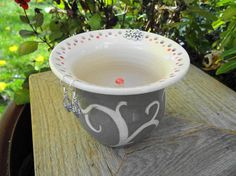 Jewelry Pot  Red Dots Tendril