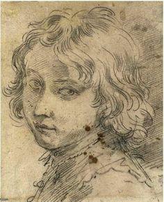 CRETI: testa di un giovane ragazzo, da disegno di Donato Creti (1671-1749, Italy) Grisaille, Guy Drawing, Doodle Sketch, Caricature, Fresco, Monochrome, Doodles, Sketches, Faces