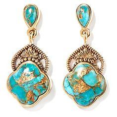 """Studio Barse Gemstone Bronze """"Clover"""" Earrings"""