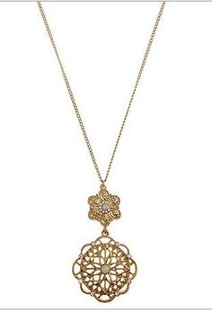 Gold Filigree Floral Crystal Pendant Necklace