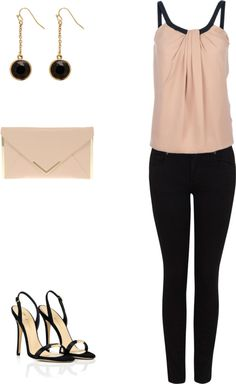 gucci top + black skinny jeans, envelope clutch, black and gold heels, black and gold earrings...
