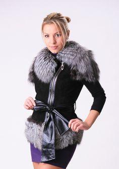 Купить Жилет замшевый Черный Лебедь - черный, жилет, кожа, замш, чернобурка, жилет кожаный