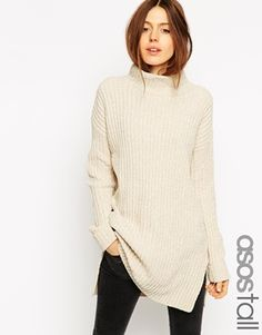 ASOS TALL Exclusive Longline Jumper With High Neck In Chenille