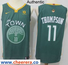 Nike Warriors  11 Klay Thompson Green The Finals Patch NBA Authentic Jersey 9758438a6