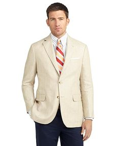 Summer suit, Books Brother's Linen Madison blazer with navy pants, dress shirt and tie