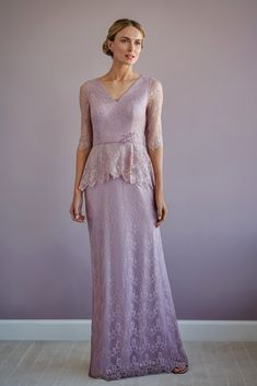 A timeless metallic lace flared gown with a V-neckline peplum top, sleeves and beaded trim. Mother Of Bride Outfits, Mother Of The Bride Gown, Mother Of Groom Dresses, Bride Groom Dress, Mothers Dresses, Mob Dresses, Bride Dresses, A Line Gown, Chiffon Gown