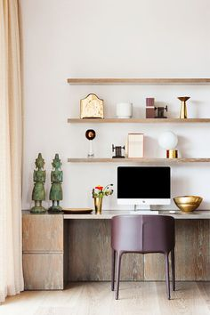 classic home office study with built-in shelves above desk, light wood, light pink curtains, purple desk chairs, gold accents Contemporary Home Office, Decor, Home Office Design, Contemporary House, Smart Home, Hotel Style, House, Office Design, Home Decor