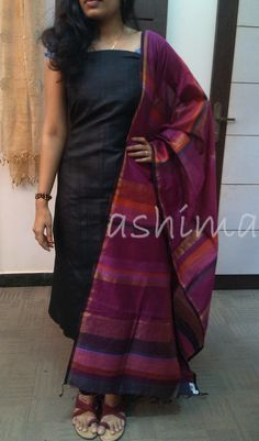 Code:0801165-Tussar Silk With Matka Silk Duppatta- Price INR:6390/-