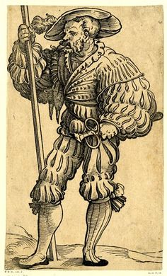 A Landsknecht with a pole in his right hand and a poniard in his l hand; WL figure, looking towards l. Woodcut