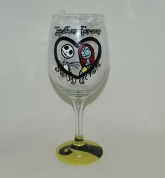 """Jack and Sally """"Together Forever"""" wine glass. Hand painted 20 ounce wine glass with Jack Skellington and Sally on it. The bottom of the base is painted yellow and black. Each one of my glasses is hand painted, no stickers or vinyl are used, and they are hand wash only. Because of the nature of each glass being hand painted, lines may vary from glass to glass, and color may vary from different screen resolutions. Please don't hesitate to contact me with any questions you may have!."""