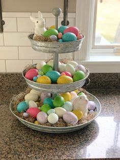 Decorate your three tiered tray for Easter decorating kitchen Fashion Look Featuring Threshold Vases and Threshold Figurines by justposted - ShopStyle Tray Decor, Decoration Table, Hoppy Easter, Easter Eggs, Easter Table, Easter Bunny Decorations, Easter Decor, Easter Centerpiece, Spring Decorations