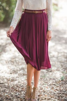 Corinne Burgundy Pleated Midi Skirt