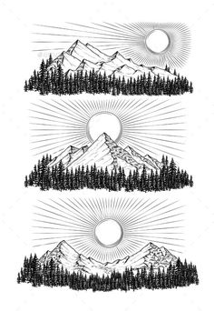 Buy Hand Drawn Vector Illustration The Mountains by vectorpocket on GraphicRiver. Hand drawn vector illustration the mountains in engraving style Art And Illustration, Mountain Illustration, Engraving Illustration, Watercolor Illustration, Mountain Sketch, Mountain Drawing, Mountain Tattoo, Mountain Art, Arte Sharpie