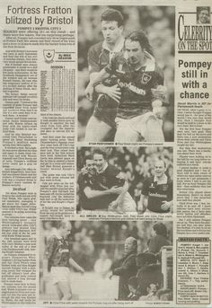 Portsmouth 2 Bristol City 3 in Feb 1993 at Fratton Park. A newspaper report on the Division 1 game.