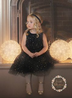 Flower girl dress Navy and gold girl dress Navy by SweetValentina