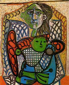Claude en brazos de su madre, 1948 - Pablo Picasso