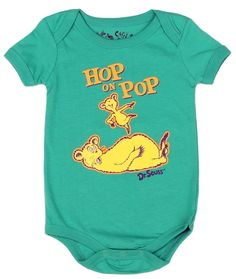 Dr Seuss Hop On Pop Infant Green Creeper      Sizes 6 Months 9 Months     Made From 100% Cotton     Color Green     Label Dr Seuss     Officially Licensed By Dr Seuss Apparel #BabyClothes