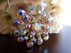 Vintage 1950s Aurora Borealis Rhinestone Brooch with Safety Clasp Pin