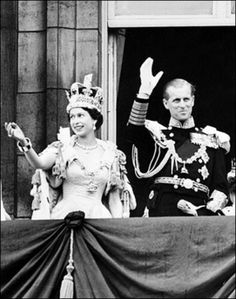 Queen Elizabeth ll and Prince Philip on the balcony at Buckingham Palace, 2nd June 1953 after her coronation.