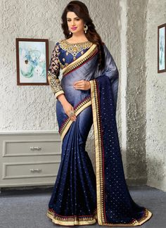 Buy Blue Ombre Satin Chiffon Saree online from the wide collection of Saree. This Blue colored Saree in Satin Blend fabric goes well with any occasion. Shop online Designer Saree from cbazaar at the lowest price. Dress Indian Style, Indian Wear, Indian Outfits, Latest Indian Saree, Indian Sarees Online, Designer Sarees Collection, Saree Collection, Fancy Sarees, Party Wear Sarees