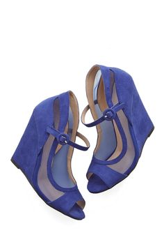 Happy as a Glam Wedge - High, Faux Leather, Blue, Solid, Party, Girls Night Out, Holiday Party, Urban, Good, Wedge, Peep Toe