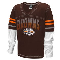 dda696827 Cleveland Browns Historic Logo 5th and Ocean by New Era Girl s Youth Twofer  Sleeve Stripes Baby Jersey T-Shirt - Brown