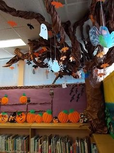 This Halloween Cats & Ghost Tree! - Fun Halloween Bulletin Board is just one of our many bulletin board ideas. We have thousands of fun and unique teaching ideas that are great for the classroom and at home! Halloween Trees, Diy Halloween Decorations, Halloween Cat, Halloween Displays, Classroom Tree, Classroom Decor, Preschool Classroom, Future Classroom, Board Decoration