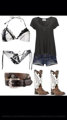 Love the bikini but dint do white. Looooovvveee this outfit Country Style Outfits, Country Wear, Country Girl Style, Country Fashion, Country Casual, Country Dresses, Big Country, Country Chic, Fashion Moda