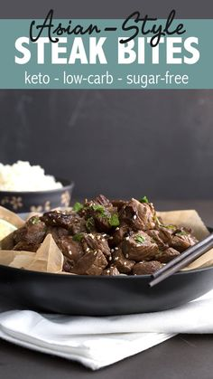 These easy Asian Steak Bites take only minutes to make and everyone loves them. A great keto dinner recipe the whole family will enjoy. #ketorecipes #steakbites #steak #ketodiet #coconutaminos #paleofriendly #dairyfree #lowcarb  via @dreamaboutfood