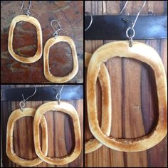 "Vintage Bone Hoop Earrings Unique Bone Vintage Hoops. Very lightweight. Measures 2"" length x 1 1/4"" wide not including wire. Vintage Accessories"