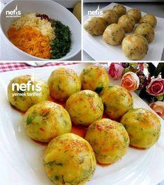 Carrot Potato Meatballs # In havuçlupatatesliköf the the Turkish Kitchen, Meatball, Food Art, Baked Potato, Carrots, Salads, Food And Drink, Appetizers, Potatoes