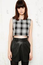 Vintage O&O Tartan Zip Back Crop Top in Black at Urban Outfitters