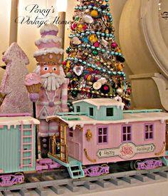 Penny's Vintage Home: Precious Moments Christmas Train Christmas Tale, Classy Christmas, 25 Days Of Christmas, Shabby Chic Christmas, Christmas Room, Very Merry Christmas, Victorian Christmas, Pink Christmas, Vintage Christmas
