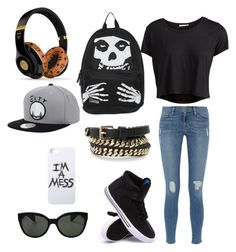 """""""#SchoolDays"""" by gurveenpanesar ❤ liked on Polyvore featuring Pieces, Frame Denim, Supra, Oliver Peoples, LAUREN MOSHI, MANGO and MCM"""