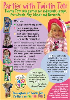 © Wild Ideas and client. Front of A5 marketing flyer designed and printed for Twistin Tots. this is to exclusively promote their children's birthday parties. Find out more at http://twistintots.co.uk/prices-and-booking/parties/