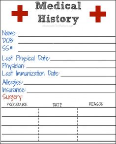 medical history printable printables pinterest health charts and my family. Black Bedroom Furniture Sets. Home Design Ideas