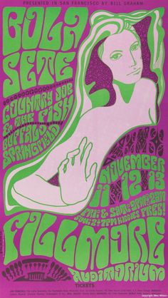 """psychedelic-sixties: """" Bola Sete, Country Joe & the Fish, Buffalo Springfield, November 1966 , Fillmore Auditorium - San Francisco Art by Wes Wilson """" Psychedelic Art, Psychedelic Typography, Hippie Posters, Rock Posters, Wes Wilson, Concert Rock, Vintage Concert Posters, Retro Poster, Hippie Art"""