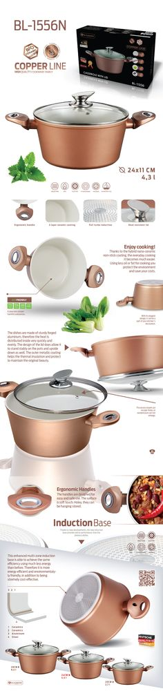 Casserole with lid - Copper Line / / is high quality cookware and is coated with a hybrid nano-ceramic non-stick coating, for easier every cooking Ceramic Non Stick, Ceramic Coating, Cookware, Casserole, Copper, Ceramics, Future, Cooking, Easy