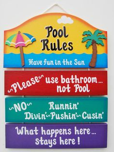 In the pool please come around back signSwimming pool sign Pool signPool Party pool rules summer doorsign primitive wood sage green