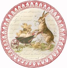 Sweet Bunny & Chicks ~ free round graphic (would be great for coasters, tags, labels...)