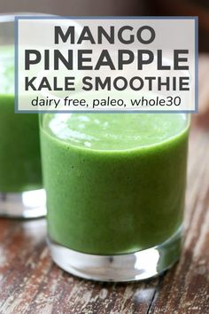 This healthy nutrient dense paleo and compliant mango pineapple kale smoothie tastes great even though there s a lot of something you may not like in it - kale kale smoothie greensmoothie paleo dairyfree mango pineapple Whole 30 Smoothies, Healthy Green Smoothies, Healthy Juices, Fruit Smoothies, Healthy Drinks, Detox Drinks, Morning Smoothies, Vegetable Smoothies, Detox Juices